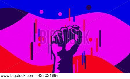 Abstract Cartoon Animation With A Rising Fist, Concept Of Success And Achievement. Animation. Male F