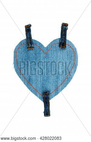 Denim Heart With Three Straps Isolated On White Background. Ripped Denim Heart Frame On White Backgr