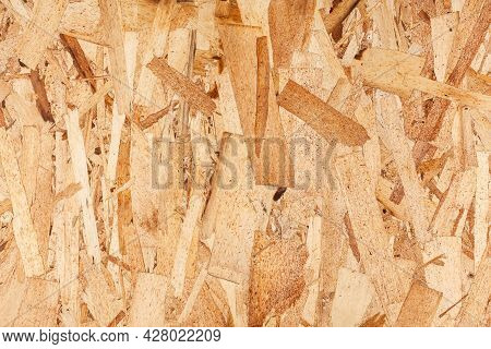 Wood Texture. Osb Wood Board For Background Decoration. Osb Board Texture. Brown Wooden Background.