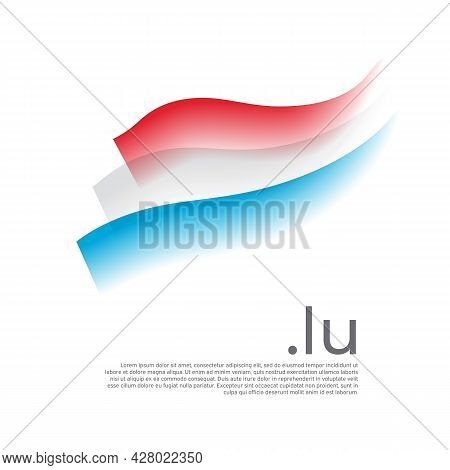 Luxembourg Flag Watercolor. Stripes Colors Of The Luxembourgish Flag On White Background. Vector Sty
