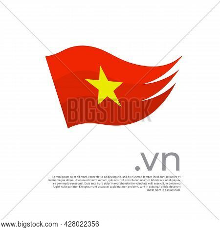 Vietnam Flag. Colored Stripes Vietnamese Flag On A White Background. Vector Flat Design Of National