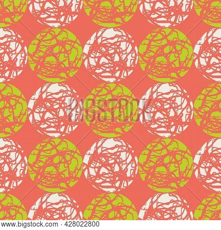 Marble Effect Circles Vector Seamless Pattern Background. Geometric Grid Of Marbling Stencil Style C