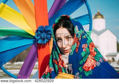 Gomel, Belarus - March 13, 2021: Portrait Of Unknown Beautiful Young Woman Girl In Headscarf On Her