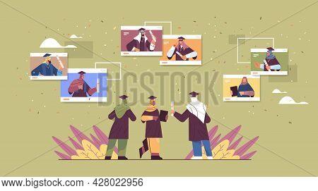 Arab Graduated Students In Web Browser Windowsarabic Graduates Celebrating Academic Diploma Degree
