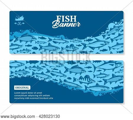 Vector Fish Horizontal Banners Or Flyers