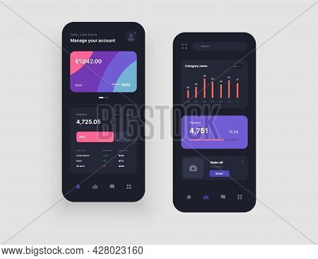 Mobile App Interface Design In Dark Colors With Ui And Ux Elements. Use Design For Web Application,