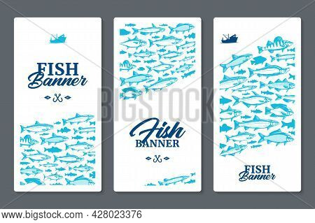 Fish Vertical Banner Or Flyer Concept With Fish Illustrations And Silhouettes On A Background For Fi