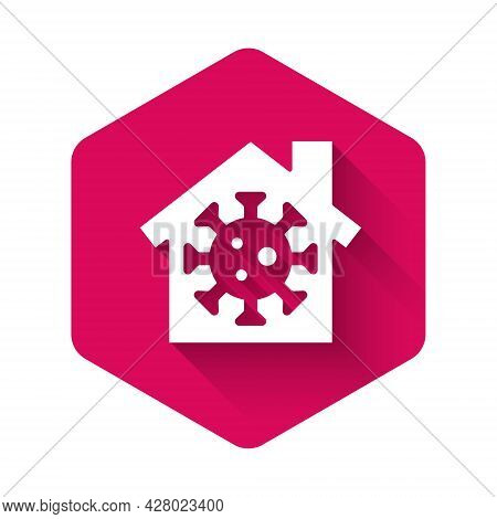 White Stay Home Icon Isolated With Long Shadow. Corona Virus 2019-ncov. Pink Hexagon Button. Vector.