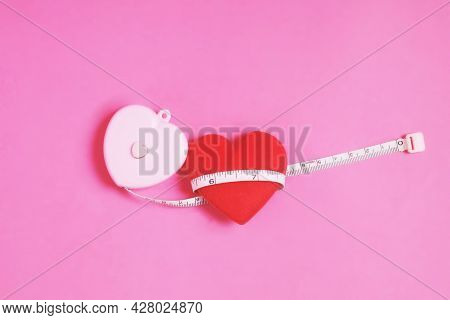 Heart Shaped Tape Measure.make Blanks In The Form Of 2 Hearts.the Image Conveys The Meaning Of Love