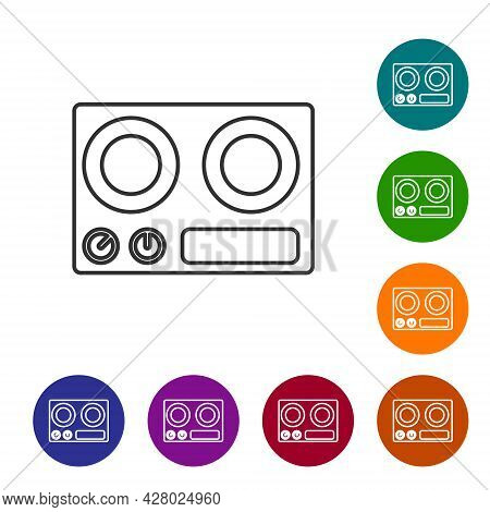 Black Line Gas Stove Icon Isolated On White Background. Cooktop Sign. Hob With Four Circle Burners.