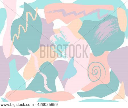 Abstract Background With Coloured Shapes, Line, Streak. Seamless Pattern. Vector Illustration