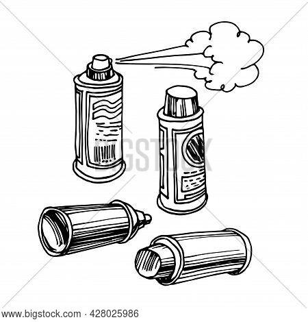 A Set Of Aerosol Cans With A Cloud, Air Freshener, Graffiti Paint, Design Elements, Vector Illustrat