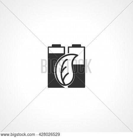Battery Green Leaf Icon. Alternative Energy Simple Vector Icon. Alternative Energy Isolated Icon.