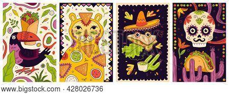 Mexican Fast Food Promo Poster Design Set. Mexico Cuisine Banner Burrito. Latin American Dish Placar