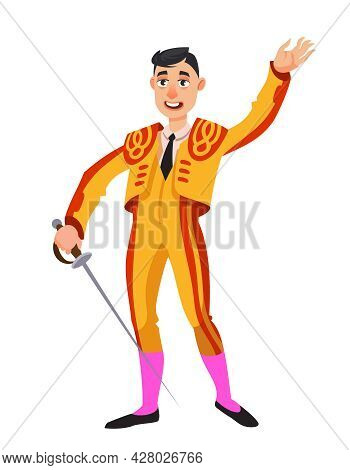 Bullfighter Holding Sword. Male Person In Cartoon Style.