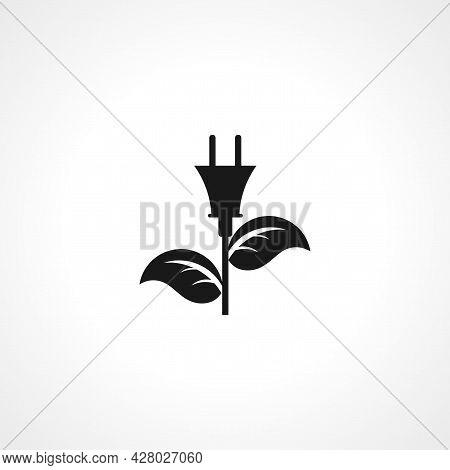 Plug And Leaf Icon. Alternative Energy Simple Vector Icon. Alternative Energy Isolated Icon.