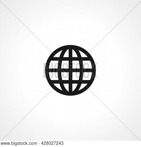 Globe With Meridians Icon. Earth Simple Vector Icon. Earth Isolated Icon.