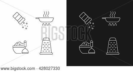 Home Cooking Linear Icons Set For Dark And Light Mode. Sprinkle Salt. Frying Pan. Mash Potato. Food