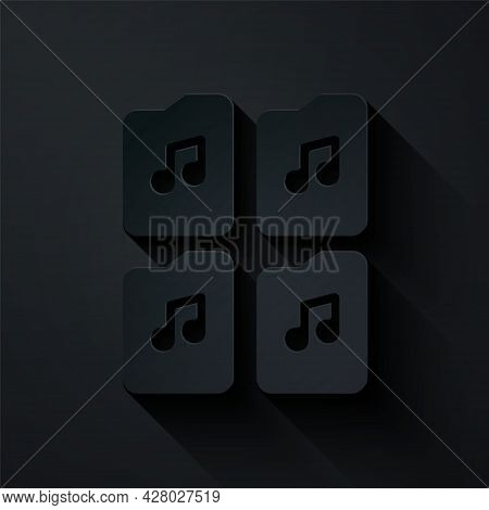 Paper Cut Music File Document Icon Isolated On Black Background. Waveform Audio File Format For Digi