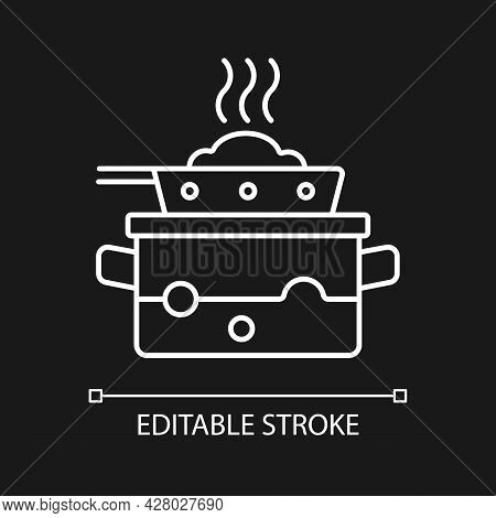 Steam For Cooking White Linear Icon For Dark Theme. Boil Water In Pot To Cook Meal On Pan. Thin Line