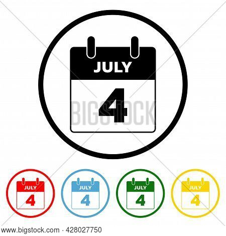 4 July Icon Vector Illustration Design Element With Four Color Variations. Vector Illustration. All