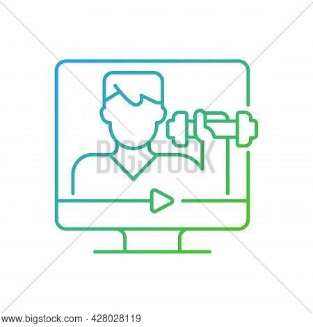 Online Fitness Coach Gradient Linear Vector Icon. Professional Support Through Internet Connection.