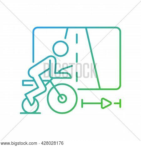 Virtual Cycling App Gradient Linear Vector Icon. Online Fitness Rally Sport. Racing Competition. Sma