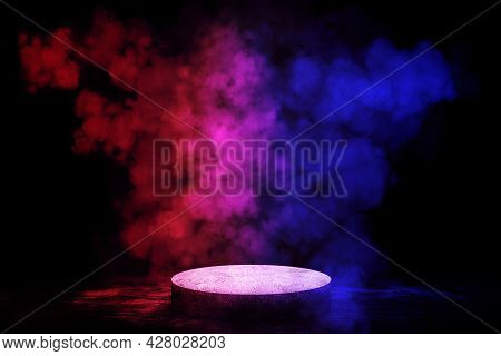 Empty Space Of Studio Dark Room Stone Stage Or Podium With Fog Or Mist And Lighting Effect Red And B