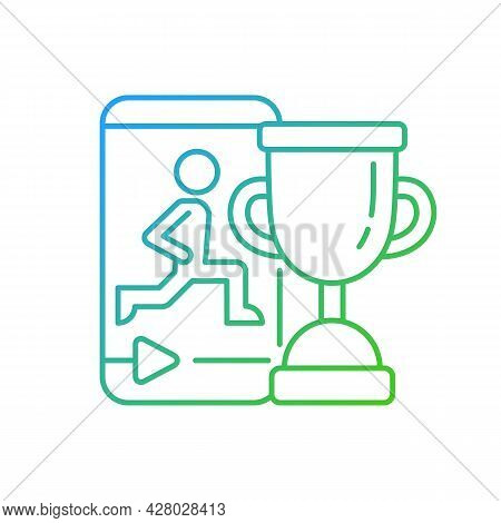 Fitness Online Challenge Gradient Linear Vector Icon. Virtual Corporate And Private Wellness Initiat