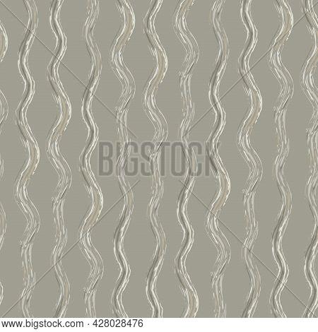 Hand Drawn Strands Of Wavy Broken Fibre Strands. Seamless Vector Pattern With Vertical Broken Stripe