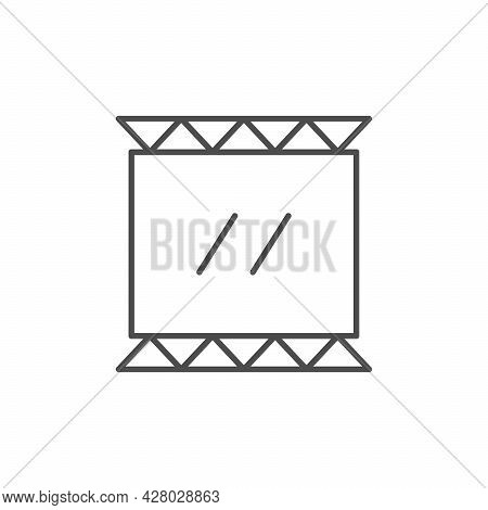 Stretched Banner Advertising Line Icon Isolated On White
