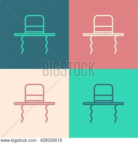 Pop Art Line Orthodox Jewish Hat With Sidelocks Icon Isolated On Color Background. Jewish Men In The