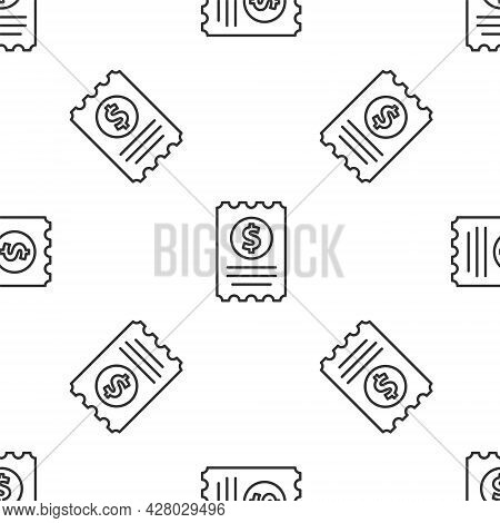Grey Line Paper Check And Financial Check Icon Isolated Seamless Pattern On White Background. Paper