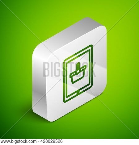 Isometric Line Shopping Basket On Screen Tablet Icon Isolated On Green Background. Concept E-commerc