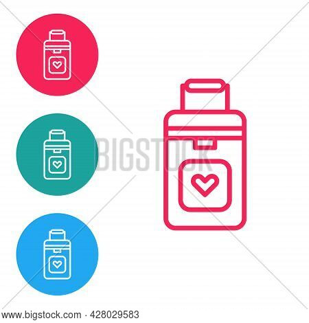 Red Line Cooler Box For Human Organs Transportation Icon Isolated On White Background. Organ Transpl