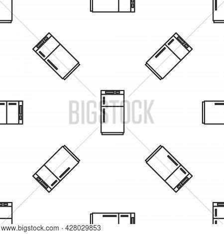 Grey Line Refrigerator Icon Isolated Seamless Pattern On White Background. Fridge Freezer Refrigerat