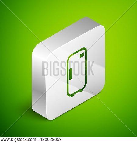 Isometric Line Refrigerator Icon Isolated On Green Background. Fridge Freezer Refrigerator. Househol