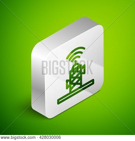 Isometric Line Wireless Antenna Icon Isolated On Green Background. Technology And Network Signal Rad