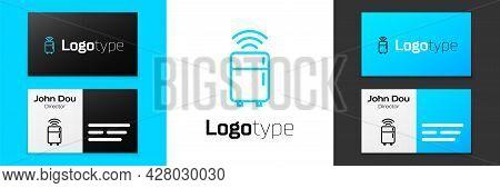 Blue Line Smart Refrigerator Icon Isolated On White Background. Fridge Freezer Refrigerator. Interne