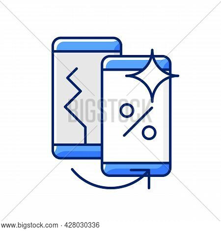 Old Phone Replacement Rgb Color Icon. Old Malfunction Device Return. Mobile Phone Exchange. Damaged