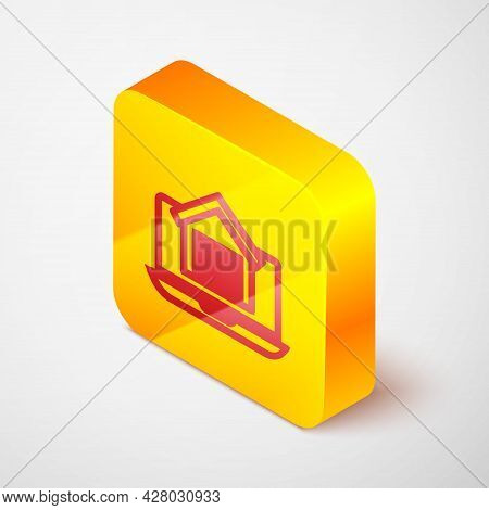 Isometric Line Online Real Estate House On Laptop Icon Isolated On Grey Background. Home Loan Concep