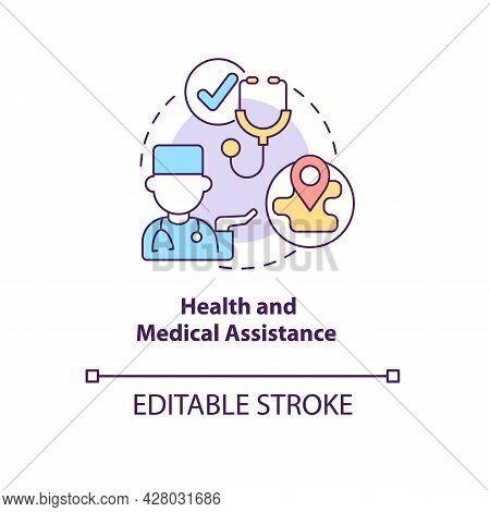 Health And Medical Assistance Concept Icon. Humanitarian Aid Program For Eligible Individuals Care A