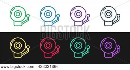 Set Line Ringing Alarm Bell Icon Isolated On Black And White Background. Alarm Symbol, Service Bell,