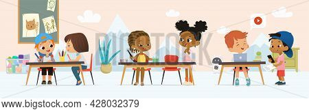 Diverse Kids Pupils In Class Room At Art Lesson Vector Flat Illustration Painting Or Drawing Picture