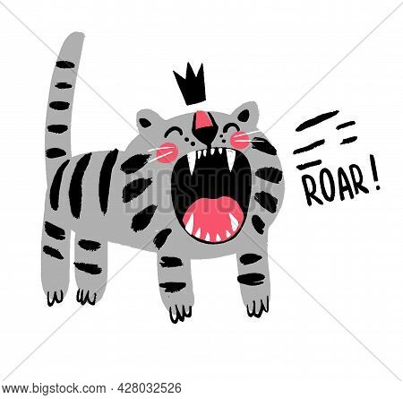 Angry Hand Drawn Gray Cat In Crown With Roar Inscription Vector Childish T Shirt Print Design