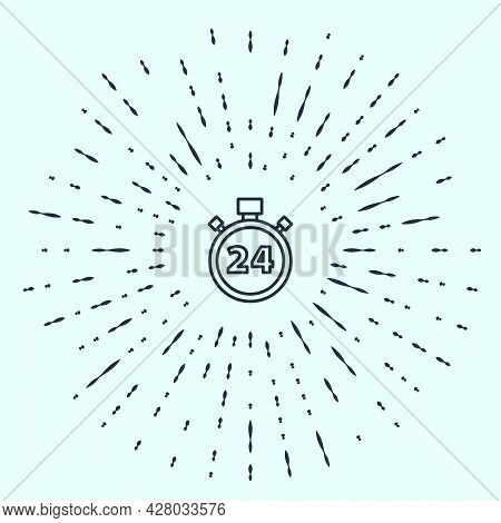 Black Line Stopwatch 24 Hours Icon Isolated On Grey Background. All Day Cyclic Icon. 24 Hours Servic