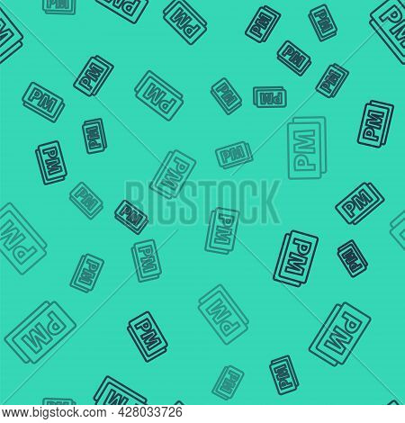 Black Line Clock Pm Icon Isolated Seamless Pattern On Green Background. Time Symbol. Vector