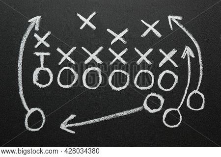 Football Game Strategy Drawn On Black Chalkboard