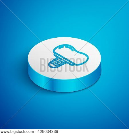 Isometric Line Dental Implant Icon Isolated On Blue Background. White Circle Button. Vector