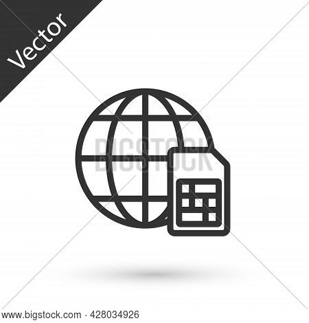 Grey Line Globe 5g Sim Card Icon Isolated On White Background. Mobile And Wireless Communication Tec
